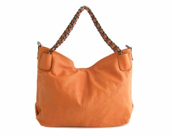 Leather Tote Hobo Shoulder Bag Handbag in Vegan Leather Saffron Yellow Handmade - the Muirne  - sale with coupon code TRACBAG30OFF345