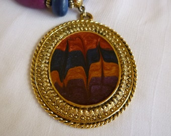 Lady Remington Pendant Necklace, Colored Wood Bead Necklace, LR Jewelry