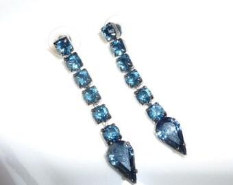 Vintage Blue Rhinestone Dangle Earrings, Sapphire Blue Dangling Earrings, Blue Jewelry