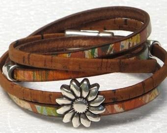 Leather Wrap Bracelet, Portuguese Cork Wrap Bracelet, Whirly Wrap, southwest colors, antique silver sunflower, secure magnet, easy on,