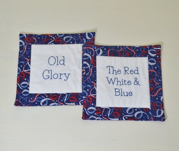 Patriotic Mug Rugs Americana Flag Coasters The Red White