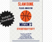 Editable Basketball Invitation - Instant Download, have it printed in minutes, instructions included - You Edit with Adobe Reader .. bb03