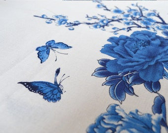chinese folk butterfly and peony blue cotton and linen fabric half yard for cheongsam diy dress tablecloth