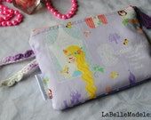 Rapunzel purple pouch, polka dot purple zipper pouch, princess wristlet, tassel,