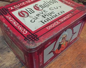 Vintage old English tin curve pipe cut tobacco metal storage advertising tin