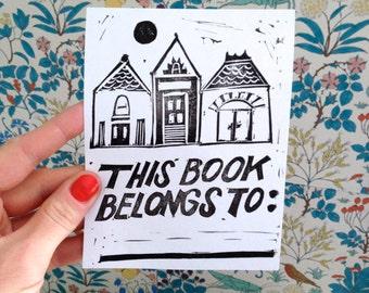 Little Houses Blockprinted Bookplate, Set of 4