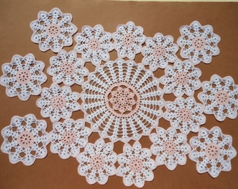 Crochet Doily, Crochet Coaster Set , Cotton Lace 7 Pieces, White and Pink, 1  Large doily - 16 inches,   6  Small doilies - 4, 8 inches