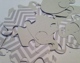 50 Large Gray Chevron Gray Elephant Cutout Punch Die Cut Embellishment Cupcake Topper