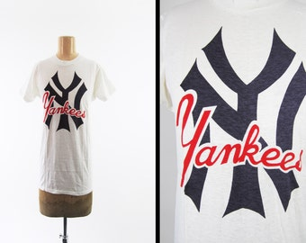 Vintage 70s NY Yankees T-shirt NOS Deadstock White Cotton Rare Made in USA - Medium