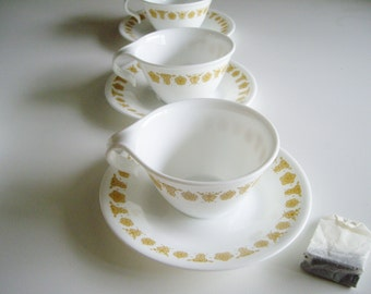 Vintage Corelle Tea Cups and Saucers - Set of 3 - Butterfly Gold