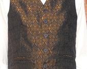 Golden brown, black and navy jacquard classic men's vest, size XL mens vest, ready to ship