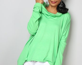 Green Top / Cowl Neck Tunic / Ladies Tunic / Oversized Tunic : Urban Chic Collection No.27
