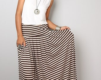 Striped Skirt -  Long Brown and Cream Striped Skirt : Urban Chic Collection No.2w