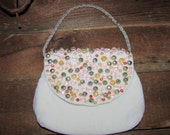 Vintag Walborg White/ Ivory  Beaded Purse with Large Pink, Gold and Silver Beads Handmade in Japan, Vintage Purse, Vintage Beaded Bag