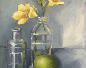 Yellow Freesia Painting • Original Art • Oil Paintings • Daily Painters • Daily Painting • Freesia
