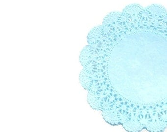 Hint of Blue colored lace paper doilies hand dyed | Cambridge Pastel color doilies, weddings and scrapbook embellishments