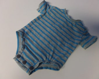 Unisex onesie with blue and grey stripes