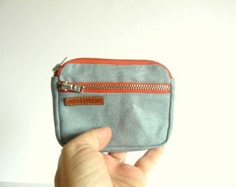 3 zips retro sky bluewaxed canvas coin purse with salmon zippers/ wallet-pocket size wallet-canvas purse-gift for him- gift for her