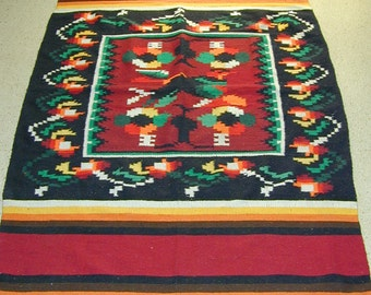 Vintage Colorful Native American Pendleton Hand Loomed Cotton Blanket 77 x 49 - KonniesPlace