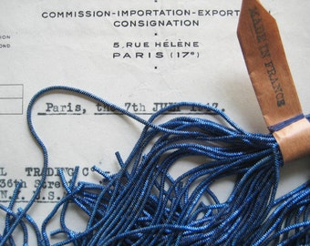 1 Pc AUTHENTIC FRENCH Vintage Blue Metal Thread Check Purl Bullion Embroidery