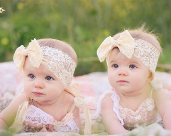 New { the Adeline } cream lace bow headband . Newborn, toddler, child, teen, adult