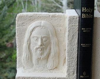 Texas Limestone Bookends Christian Jesus Stone