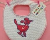 Baby Bib with Lamb vintage applique in pink, vintage fabric, cotton waffle weave, cozy bib, hanky blanky,