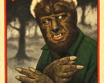 Wolf Man reproduction poster print