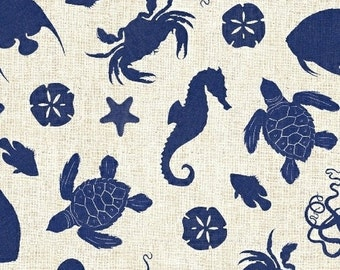 Hidden Cove - Sea Creatures Navy by Sue Schlabach from Windham Fabrics