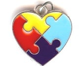 AUTISM AWARENESS HEART Charm.  Silver Plated Enamel. One Sided. Jigsaw Puzzle Pieces.