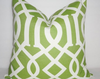OUTDOOR Green & Ivory Geometric Pillow Cover Green Geometric Porch Decorative Pillow 18x18