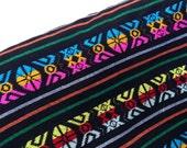 Aztec Fabric - Black Tribal pattern - Mexican cambaya by the yard - One Yard Rebozo