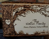 Customized Family Rustic Tree Design with Heart Carving Wood Burned Tree Slice