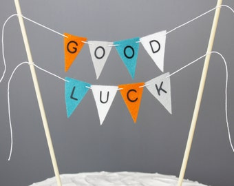 Good Luck Cake Topper, Orange Turquoise Grey White Farewell Party Cake Banner, Goodbye Centerpiece, Going Away, Moving Party Decorations