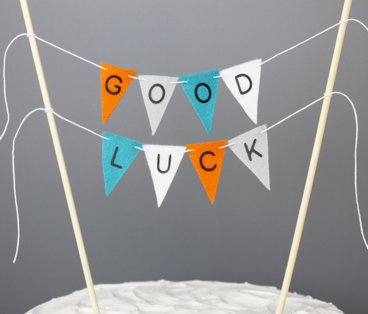 Good Luck Cake Topper Orange Turquoise Grey White Farewell