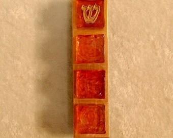 Stained Glass Tile Mezuzzah - Iridescent Tangerine