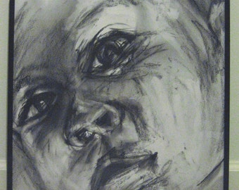 Stare- original charcoal drawing