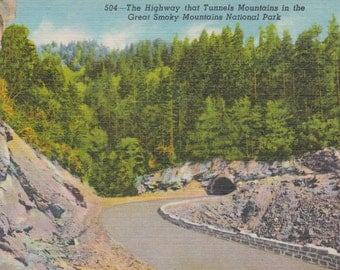 Smoky Mountains, National Park, Highway, Tunnels - Linen Postcard - Unused (HHH)