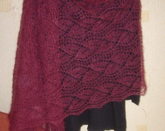 SALE 20% off !!! Hand knitted luxurious super kid mohair lace shawl scarf stole wrap cherry