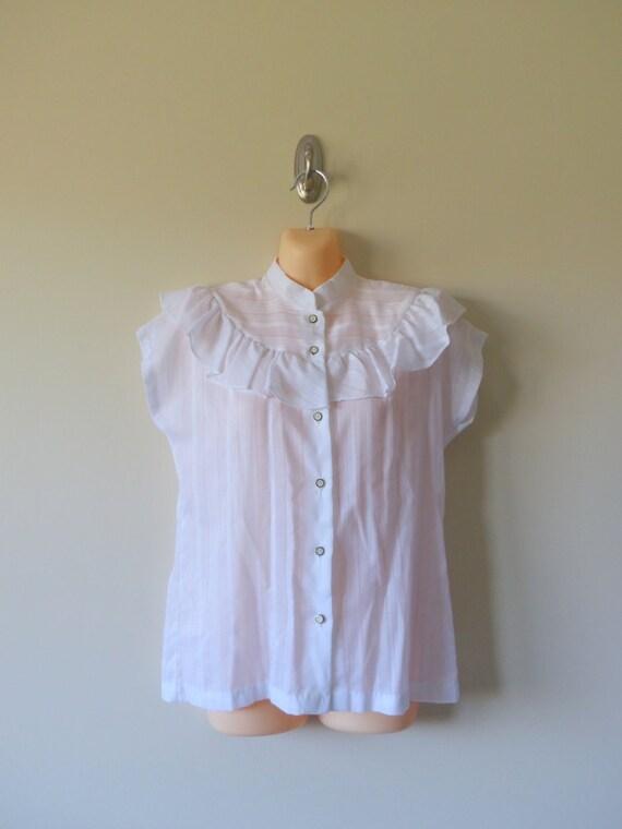 Vintage 80s white ruffle blouse prairie high neck button down for Non see through white dress shirt