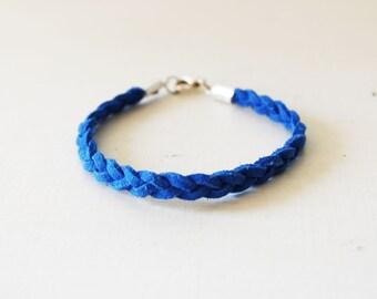 Blue leather bracelet, Blue braided bracelet, Blue suede bracelet, Minimal bracelet, Stacking bracelet, Suede leather rope, Layer blue cuff