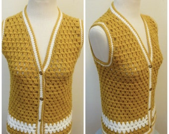 Vintage 1970s Gold Button Down Sweater Vest- L