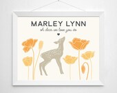 Custom Name Nursery Print - Customized children's room, modern art decor, woodland deer fawn animal, nature floral poppy, tan orange yellow