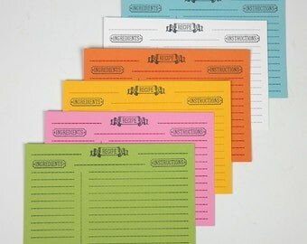 Letterpress Recipe Cards - Set of 36