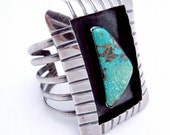 Vintage 1940s Huge Mexican Sterling Silver Turquoise Cuff Bracelet 105 Grms 20125