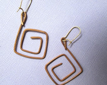 Copper Earrings spiral square boho gypsy earrings aged rustic copper jewelry long dangle medium large hand forged hammered