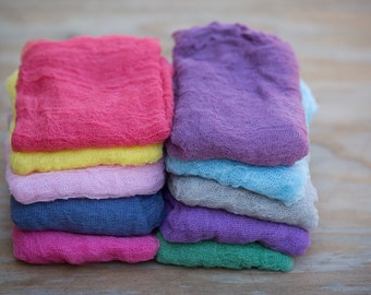 CLEARANCE - Lot of Mixed Colored Cheesecloth Wraps Grade #10, Lot Of 5 Wraps Size 72x36