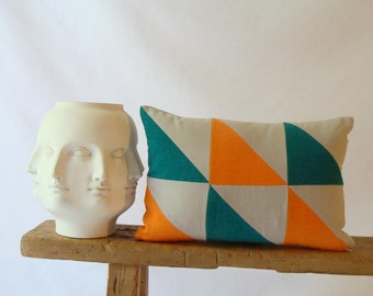 Geometric Patchwork Pillow Cover/Triangle/Eclectic/Orange/Teal/Natural/ Modern/Stylish Accent Pillow/New Collection/Zigzag Studio Design