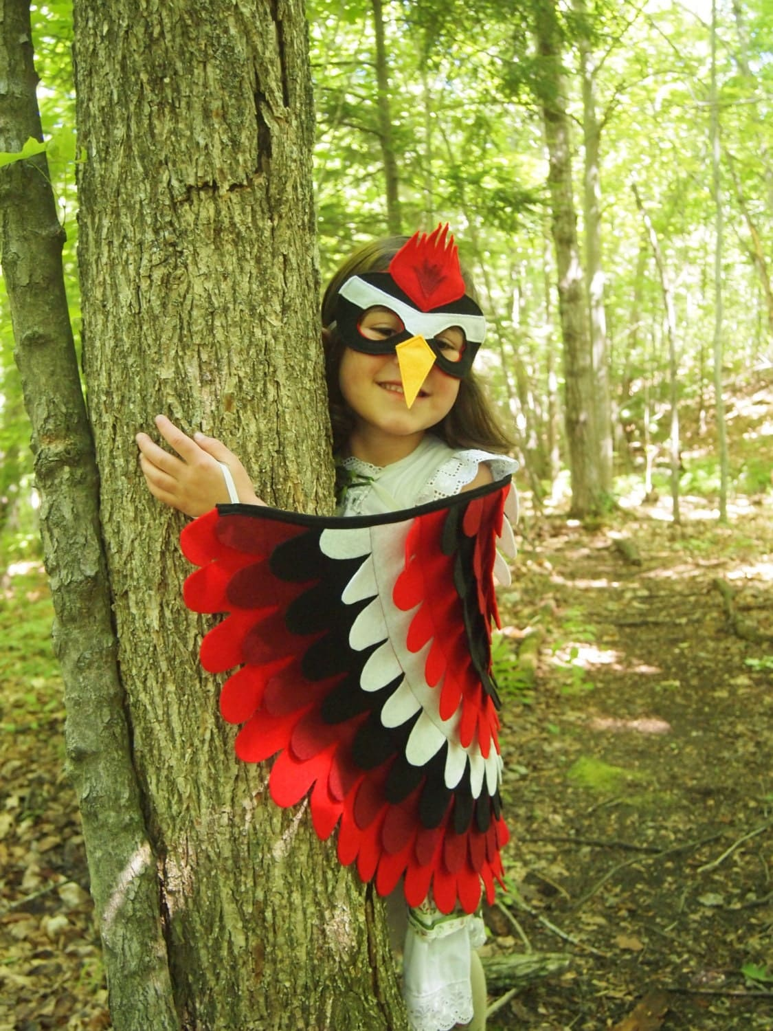 Woodpecker Costume Set Wings and Mask: 0-24 months/ 2-5 years