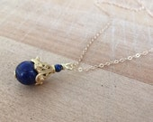 Lapis Necklace -  Lapis Jewelry - Lapis Lazuli - Gold Jewelry - Chain Jewellery - Navy Blue - Gemstone - Pendant